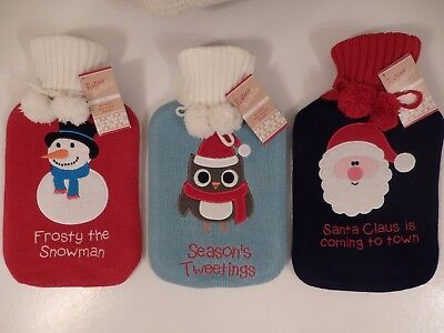 Hot Water Bottle with Knitted Christmas Cover (Choice of 3)