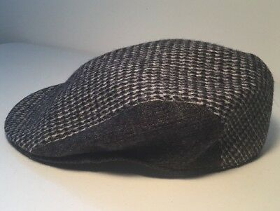 "1d8c3ab7 Vtg Mens Kangol Wool Newsboy/Cabbie Cap Wool Grey Houndstooth Black Side  7.5"" D"