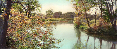 ANTIQUE & Rare Circa Early 1900s Hand Colored Photo WINDING RIVER, Nutting Style