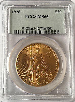 1926 $20 Saint Gaudens Double Eagle Gold Coin PCGS MS65 - Free Shipping