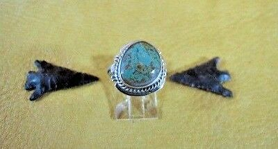 Arkie Nelson Navajo Kings Manassa Turquoise Sterling Ring Incised Edge Size 5