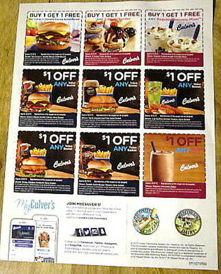 5 Sheets Of  Culver's Coupons Exp 2/18/2018 Ships Immediately