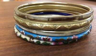 Lot of 5 bangle bracelets cloisonné, beautiful brass and inlaid designs