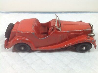 "Unusual Old Metal Toy Red MG Sports Car w Cast Iron Radiator 6"" Hubley 1950s"