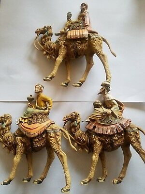 "Set of 3 Fontanini Wisemen on Camels Nativity 6.5"" Tall Marked Italy"