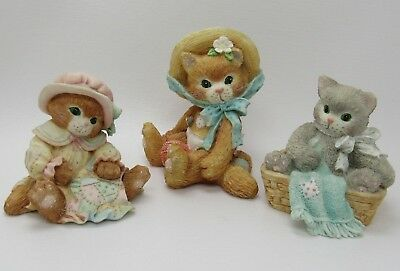 3 Calico Kittens Figurines Lot Friendship Quilt Love, I'm All Fur You, Solitude