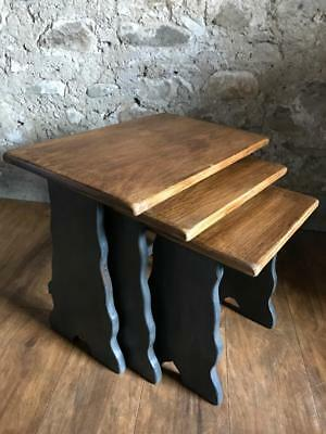 Beautiful Solid Oak Shabby Chic Nest Of Tables