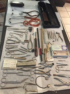 Large Lot Of Medical Tools And Oddities Dental Whack Needles Stethoscopes
