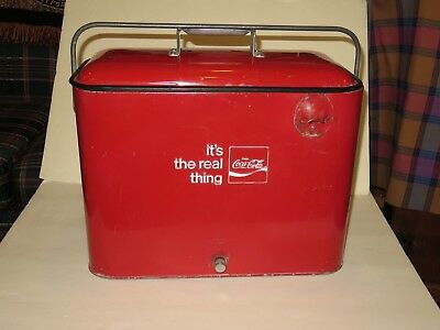 Coca Cola Coke vintage Cooler 1950 1960's picnic advertising embossed Insulated