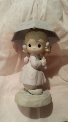 Precious Moments April Girl with Umbrella in the Rain Figurine 1987 #110027