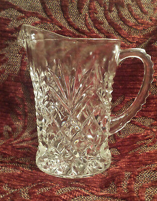 """Vintage Clear Glass Crystal Creamer or Small Pitcher 5"""" tall"""