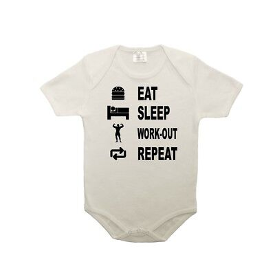Body bébé 100% coton eat sleep work out
