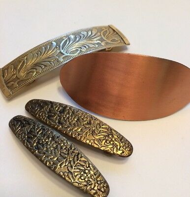 4 Vtg Metal Hair Barrettes Clips Holders Copper Gold Brass Tones 2.5-3.5""