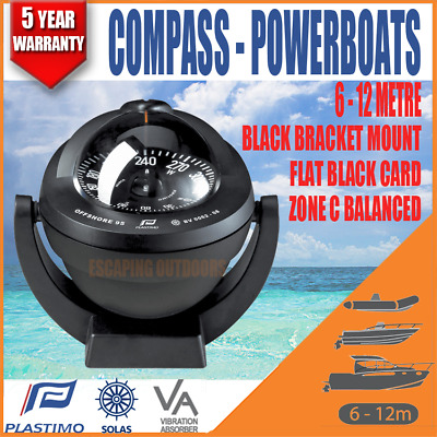 Plastimo Offshore Boat Compass 6-12m powerboats Black Bracket Mount Flat Card