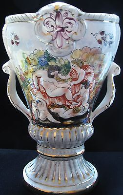 Large Vintage Signed Capodimonte Italy Vase - Tall Ornate Double Handled