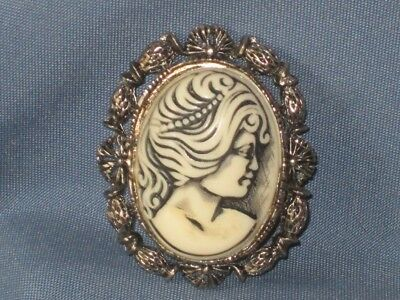 Vintage Gold-Tone Metal White Resin Cameo Pin Brooch