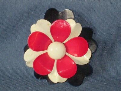 Vintage Gold-Tone Metal Red White Blue Enamel Flower Pin Brooch