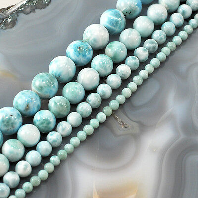 "Natural AA Blue Larimar Round Beads 15"",4, 7, 10, 12mm, Pick your size"