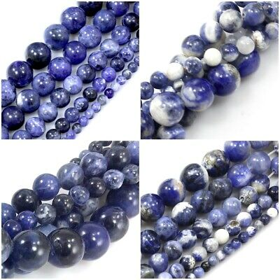 "Wholesale Smooth Natural Blue Sodalite Round Spacer Loose Beads15"" Free Shipping"