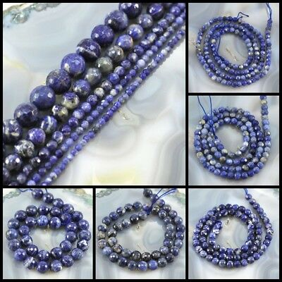 "Wholesale Natural Blue Sodalite Faceted Round Spacer LooseBeads 15"" 3 4 6 9 12mm"