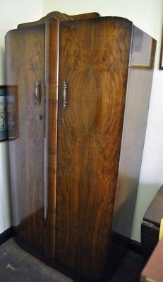 Mid-Century Art Deco style  Walnut double wardrobe by Shrager  Antique vintage