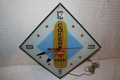 "Vintage 1960's Coker's Hybrids Seed Corn Farm Gas Oil 22"" Lighted Pam Clock Sign"
