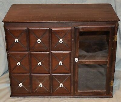 Antique Spice Chest Apothecary Cabinet 9 Drawer Wooden Glass Door Display Case