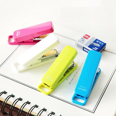 Mini Stapler Candy Color Staples Set Office Stationery Paper Binding Binder Hot