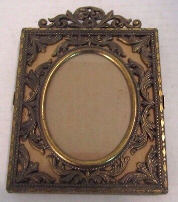 Vintage Italian Italy Photograph Action Ornate Metal Frame Easel Photo Oval