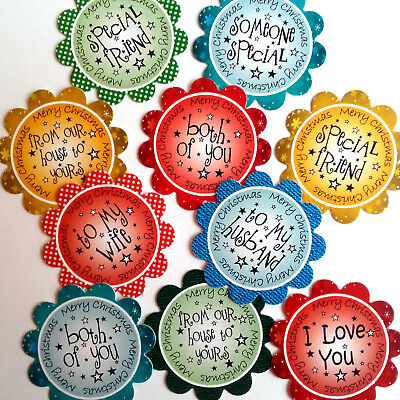 Christmas Toppers For Card Making.10 Xmas Sentiments Mixed Hand Made 2 Card Toppers For Card Making Xmix10