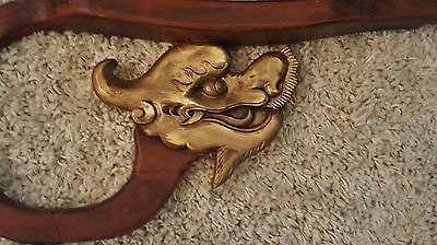 Pair Architectural Salvage Antique Rosewood Chinese Chinoiserie Dragon Corbel