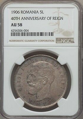 Romania Carol I  1906  5 Lei Silver Coin, Almost Uncirculated Certified Ngc Au58