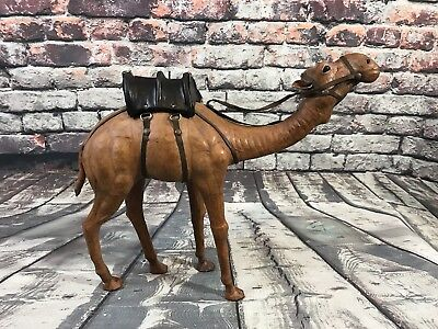 "Vintage Camel Leather Wrapped Figure Figurine Statue w/ Black Saddle 12.75""x15"""