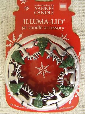 YANKEE CANDLE Christmas FROSTED Reindeer Trees ILLUMA LID TOPPER