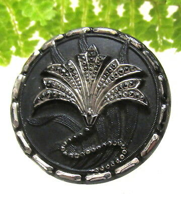 Amazing Art Nouveau Matt Black Silver Luster Glass Button W/ Flower Design H127