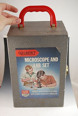 Vintage Microscope and Lab Set Gilbert Science toy type box Box # 51