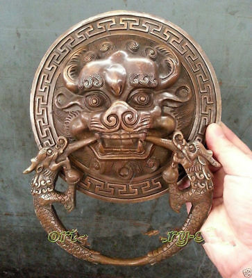 China Fengshui Brass Lion Foo Fu Dog Head Mask Statue Old Door knocker 20cm #GY