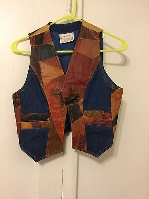 Vintage Leather And Denim Patch Vest