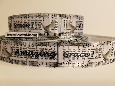 "Grosgrain Ribbon Amazing Grace Song Hymn White Dove Jesus Faith Saves 1"" Wide"