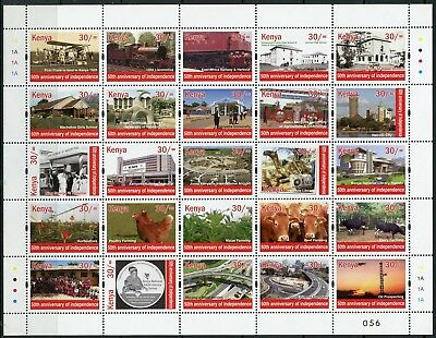 KENYA 2017 50th INDEPENDENCE ANNIVERSARY  SET OF 3 SHEETS OF 25 EACH MINT NH