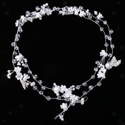 Elegant Wedding Crystal Flower Pearls Headpiece Lady Hair Jewelry Accessory