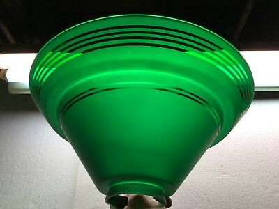 Vintage Art Deco Green Glass Lamp Shade Etched Frosted Ringed Stepped Torchiere