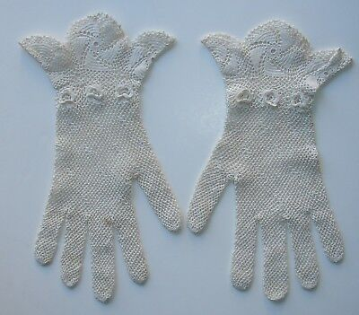 Beautiful Vintage Pair of Lady's White Irish Crochet Gloves