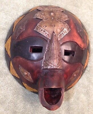 Hand Carved Wood Metal Ghana Face Mask