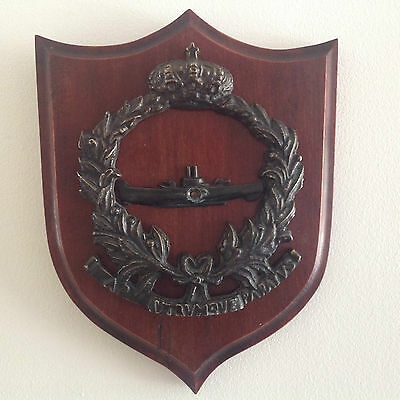 Spanish Naval Submarine Cast Bronze Metal On Wooden Shield