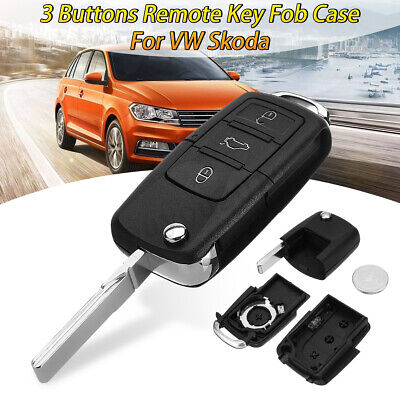 3 Button Flip Remote Key Fob Case Shell w/ Battery Replacement For VW Skoda SEAT