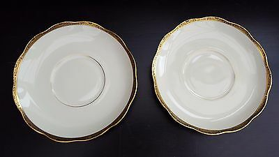KPM Soup Coup Saucers, Royal Ivory with gold  band , 5401   x 2