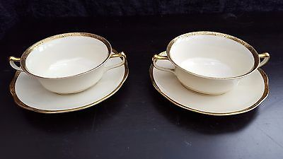 KPM Soup Coup and Saucers, Royal Ivory with gold  band x 2, 5401