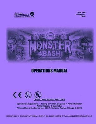 Monster Bash Pinball Game Machine Operations/Service/Repair Manual Williams  PPs