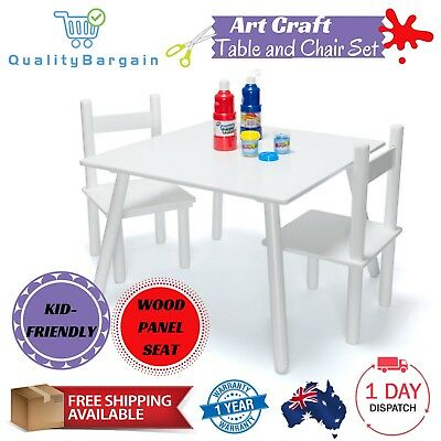 White Wooden Art Craft Table and 2 Chairs Set for Toddler Kids Children Drawing